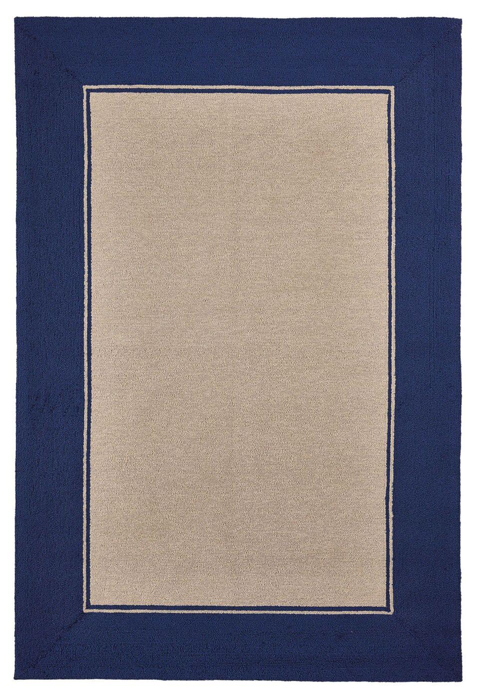 Elam Border Hand-Woven Blue/Beige Indoor/Outdoor Area Rug Rug Size: Rectangle 7'5