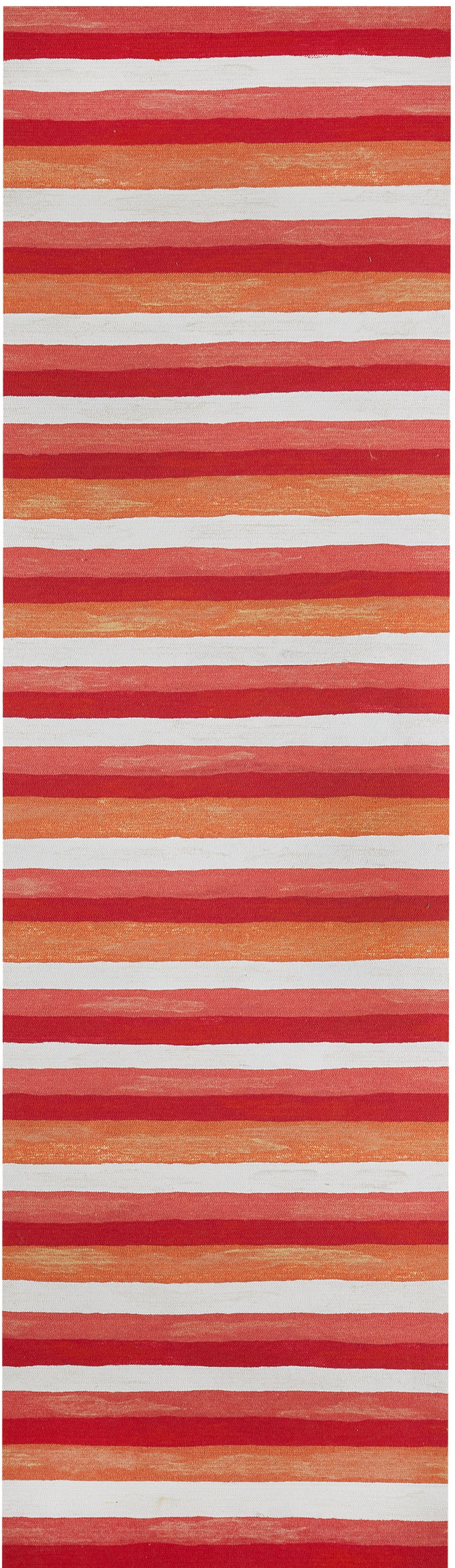Hugo Painted Stripes Hand-Woven Red Indoor/Outdoor Area Rug Rug Size: Runner 2'3