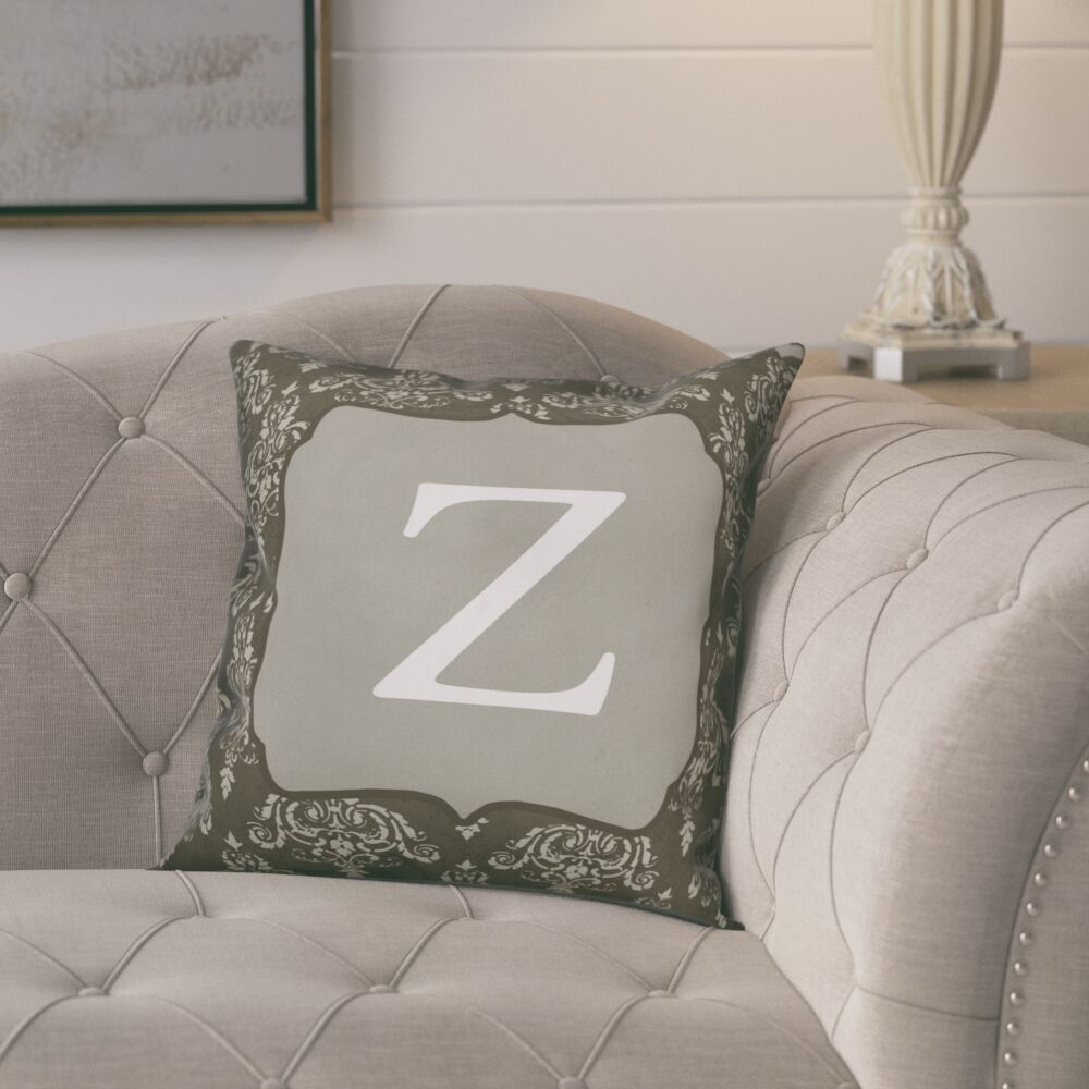 Krahn DamaskMonogram Throw Pillow Letter: Z
