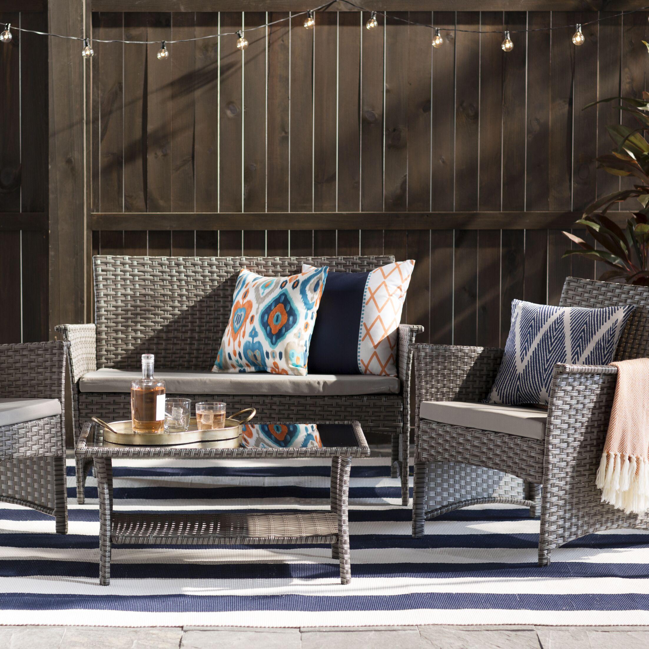 Barnhart 4 Piece Sofa Set with Cushions Color: Gray