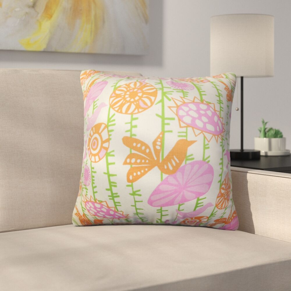 Ruelas Floral Cotton Throw Pillow Color: Pink