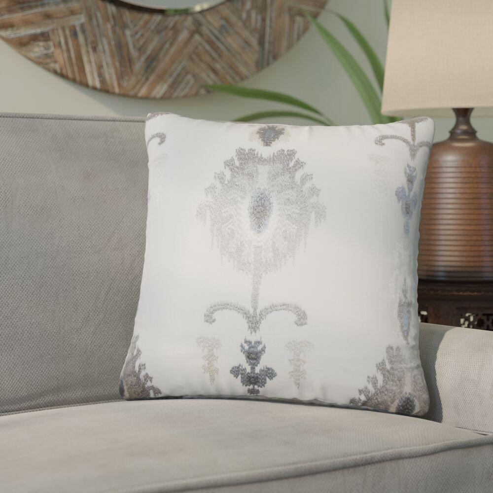 Gamble Ikat Cotton Throw Pillow Color: Platinum