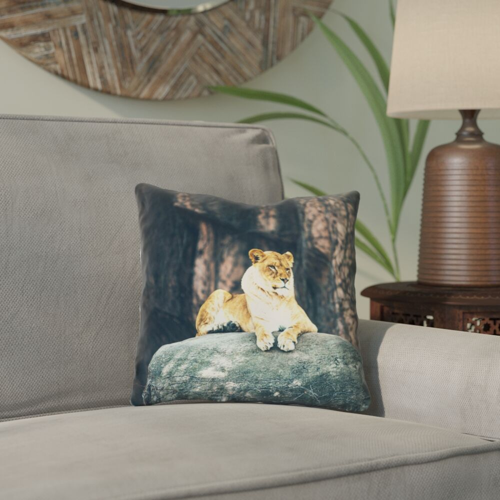 Thatcher Lioness Square Linen Pillow Cover Size: 16