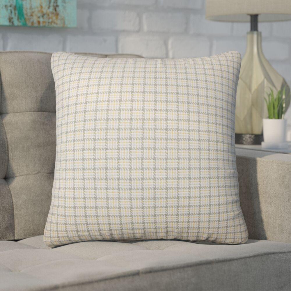 Wojcik Plaid Cotton Throw Pillow Color: Sunflower
