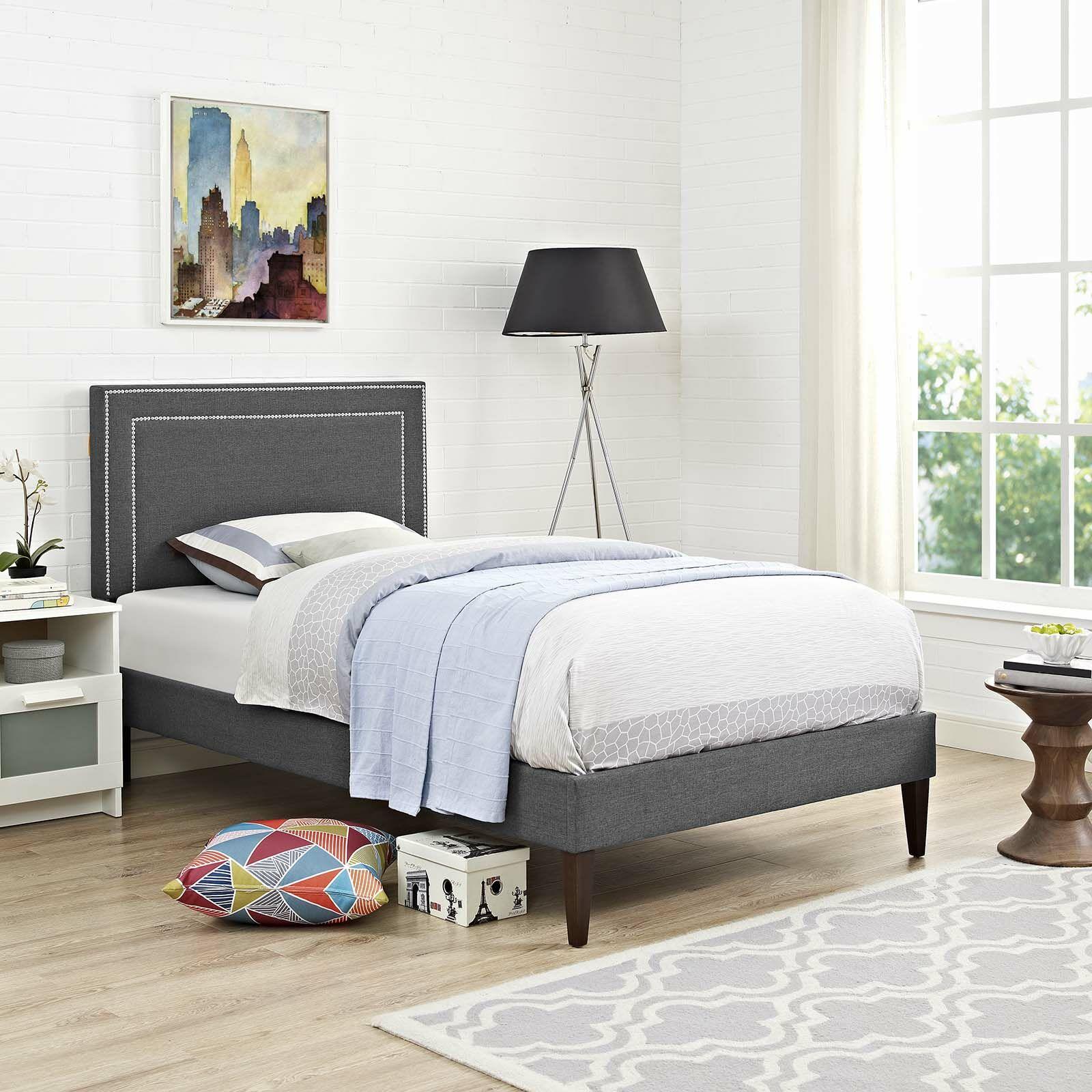 Huntsman Upholstered Platform Bed Color: Gray, Size: Full/Double