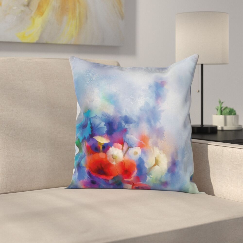 Flower Hazy Painting Effect Square Pillow Cover Size: 18