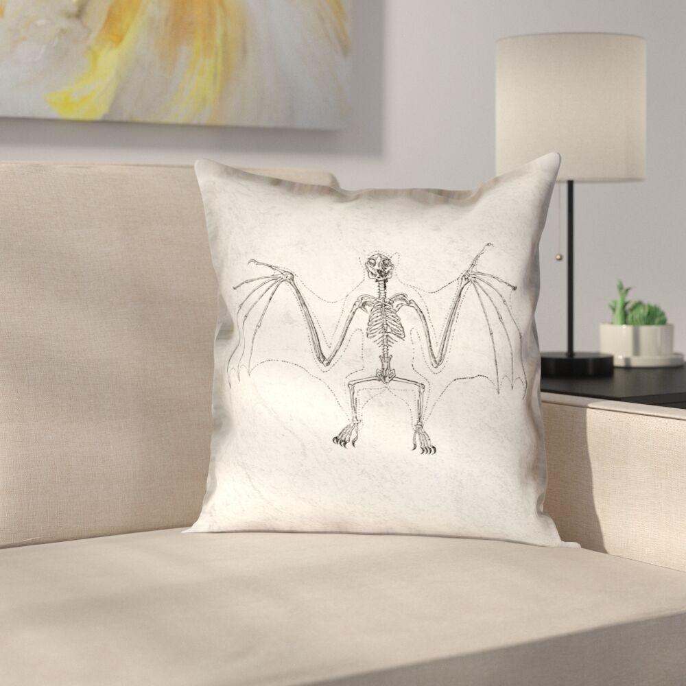 Vintage Bat Skeleton Throw Pillow Size: 18