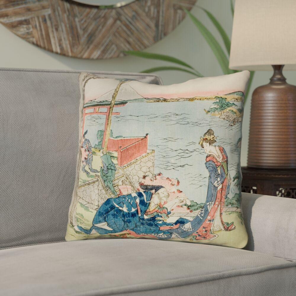 Enya Japanese Courtesan 100% Cotton Throw Pillow Size: 14