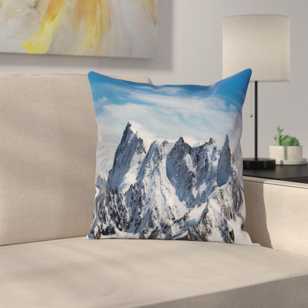 Nature Mountain Peak Scenery Square Pillow Cover Size: 24