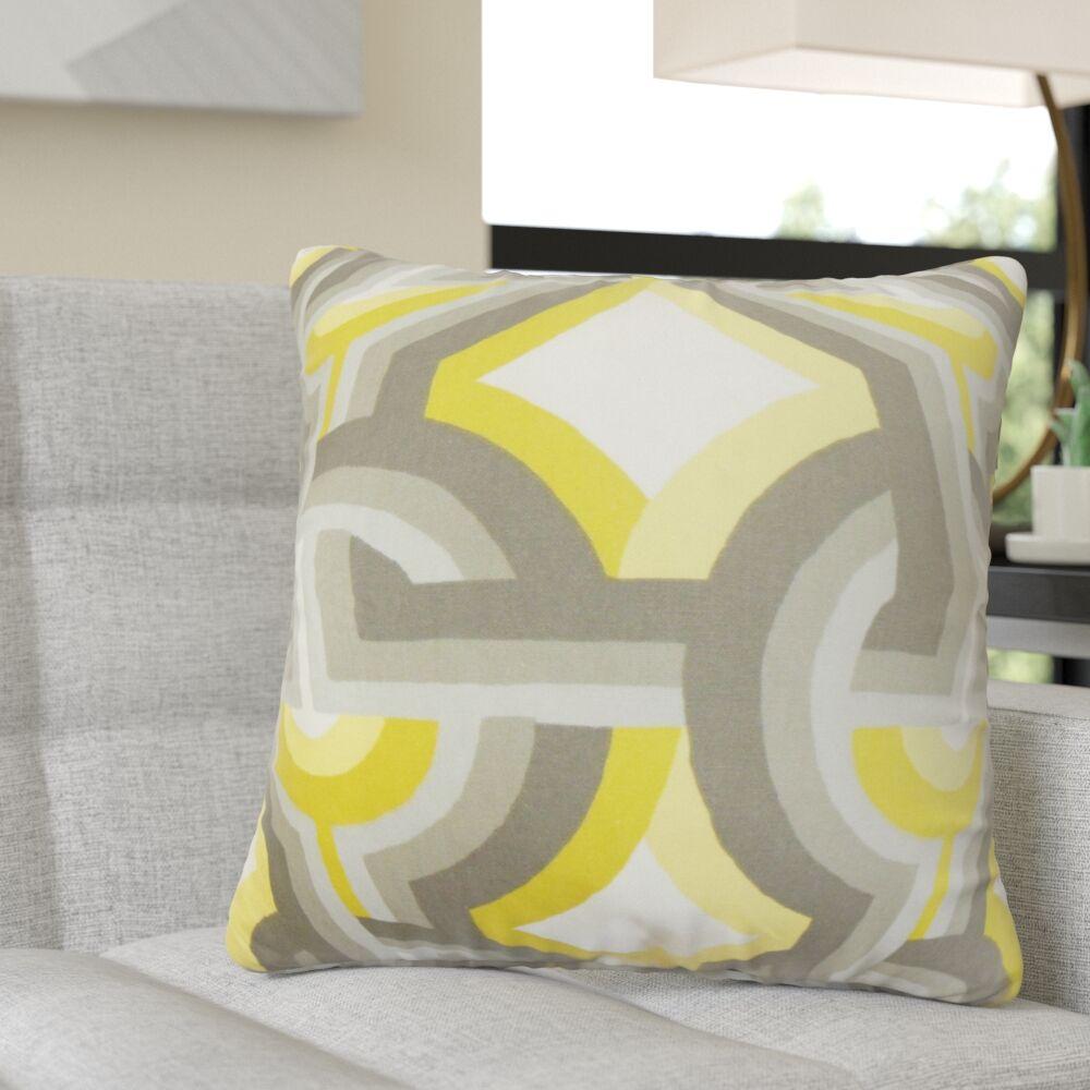 Randle Geometric Cotton Throw Pillow Color: Gray/Yellow