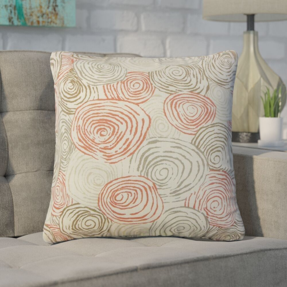 Zeus Graphic Linen Throw Pillow Color: Poppy
