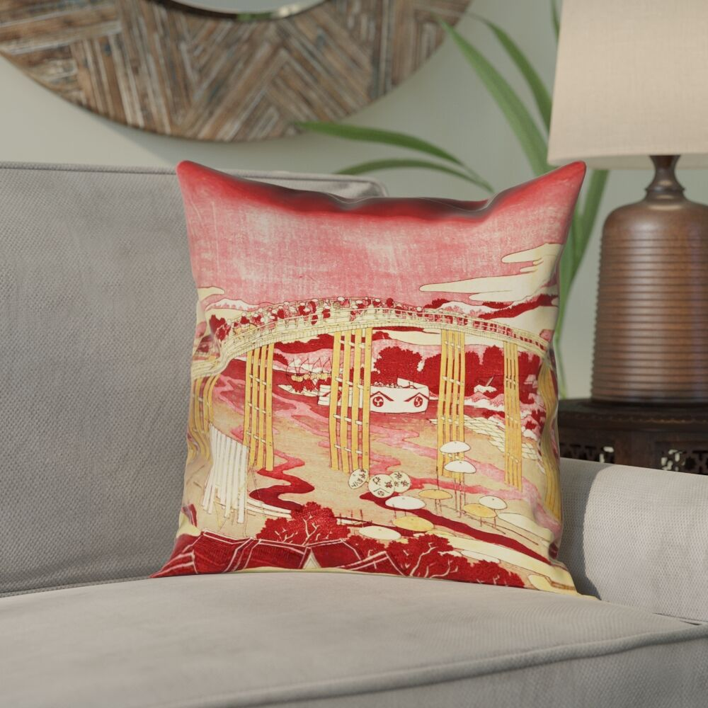 Enya Japanese Bridge Double Sided Print Pillow Cover Size: 20
