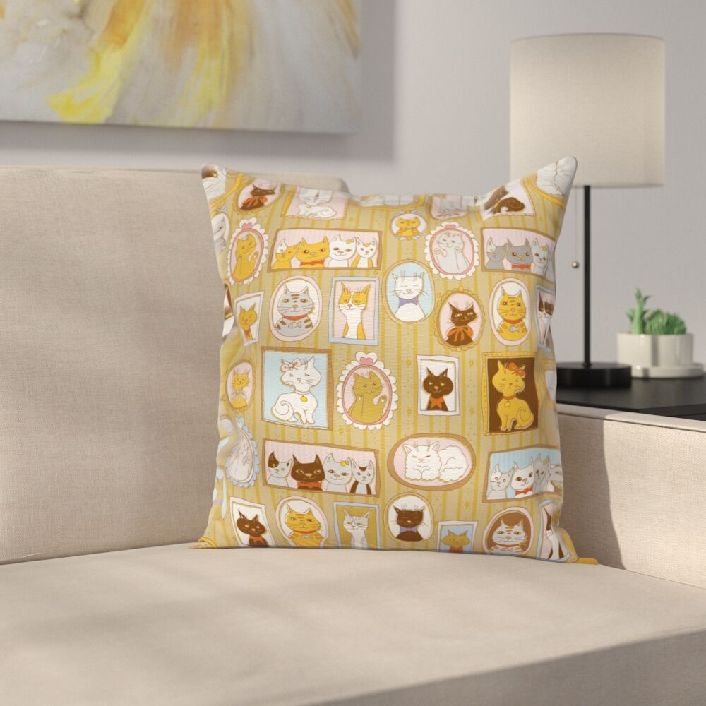 Cat Family Tree of Kitty Humor Square Pillow Cover Size: 18