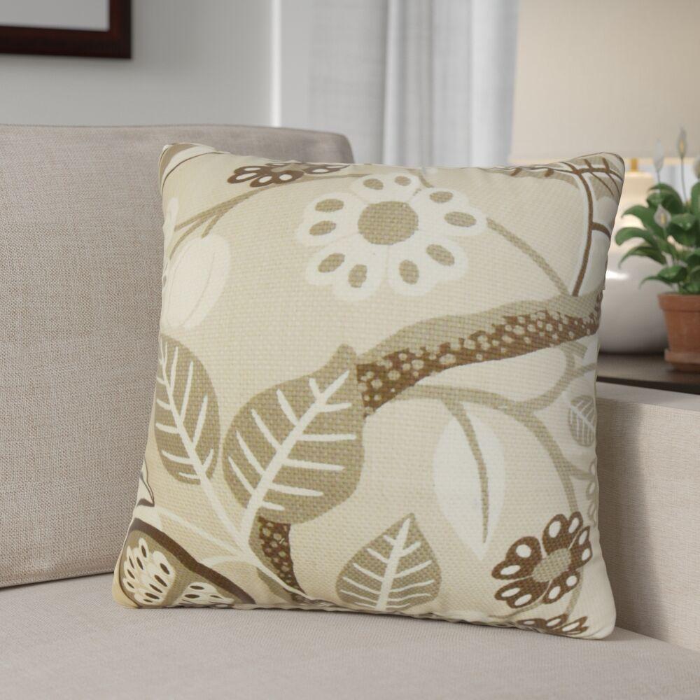 Ashville Floral Cotton Throw Pillow Color: Ivory, Size: 20