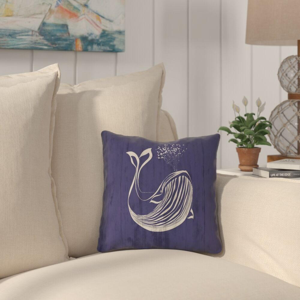 Lauryn Whale Square Throw Pillow with Zipper Size: 16