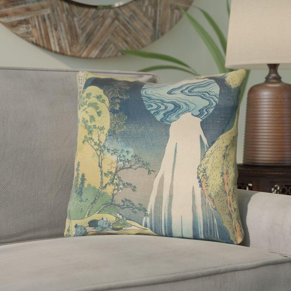 Rinan Japanese Waterfall Linen Throw Pillow Size: 26