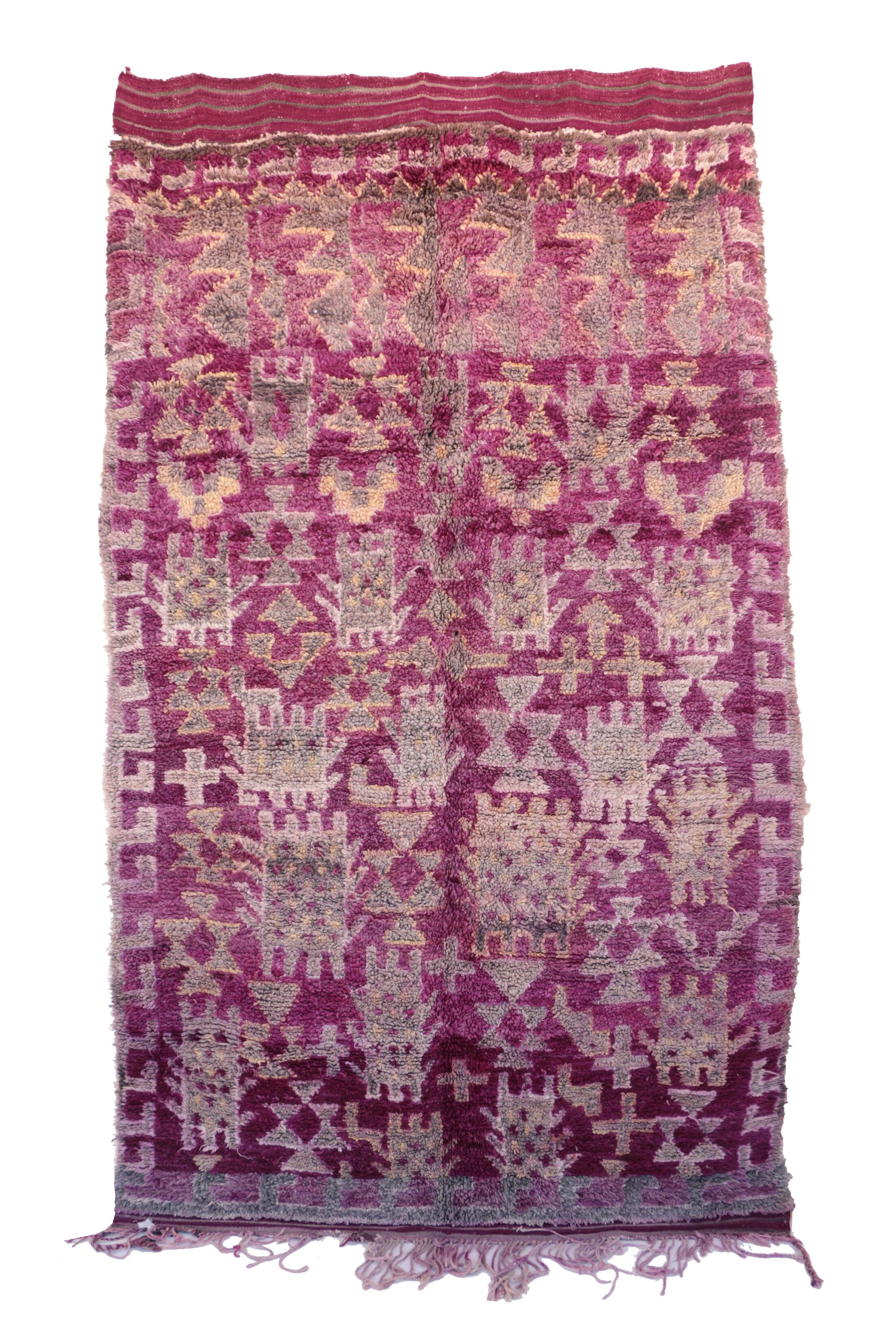 One-of-a-Kind Beni M'Guild Moroccan Hand-Knotted Wool Pink Area Rug