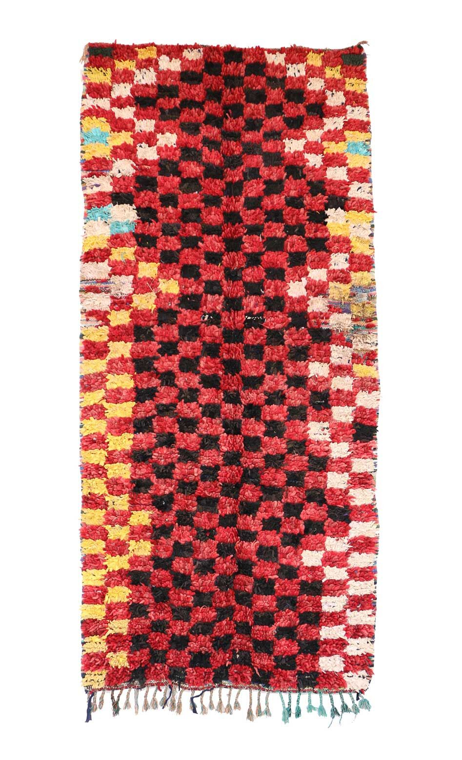 One-of-a-Kind Boucherouite Moroccan Hand-Knotted Wool Red/Black Area Rug