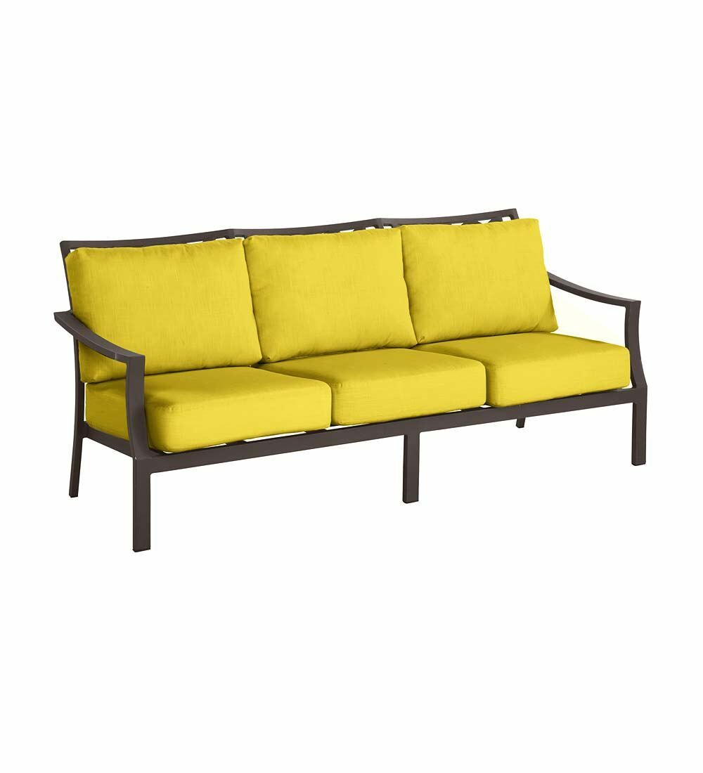 Topsail Deep Seating Patio Sofa with Cushions Cushion Color: Sunshine Yellow