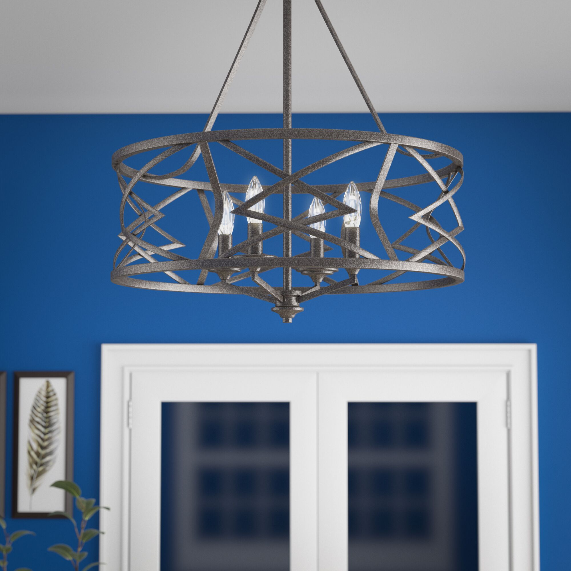 Tokai 4-Light Drum Chandelier Finish: Antique Silver