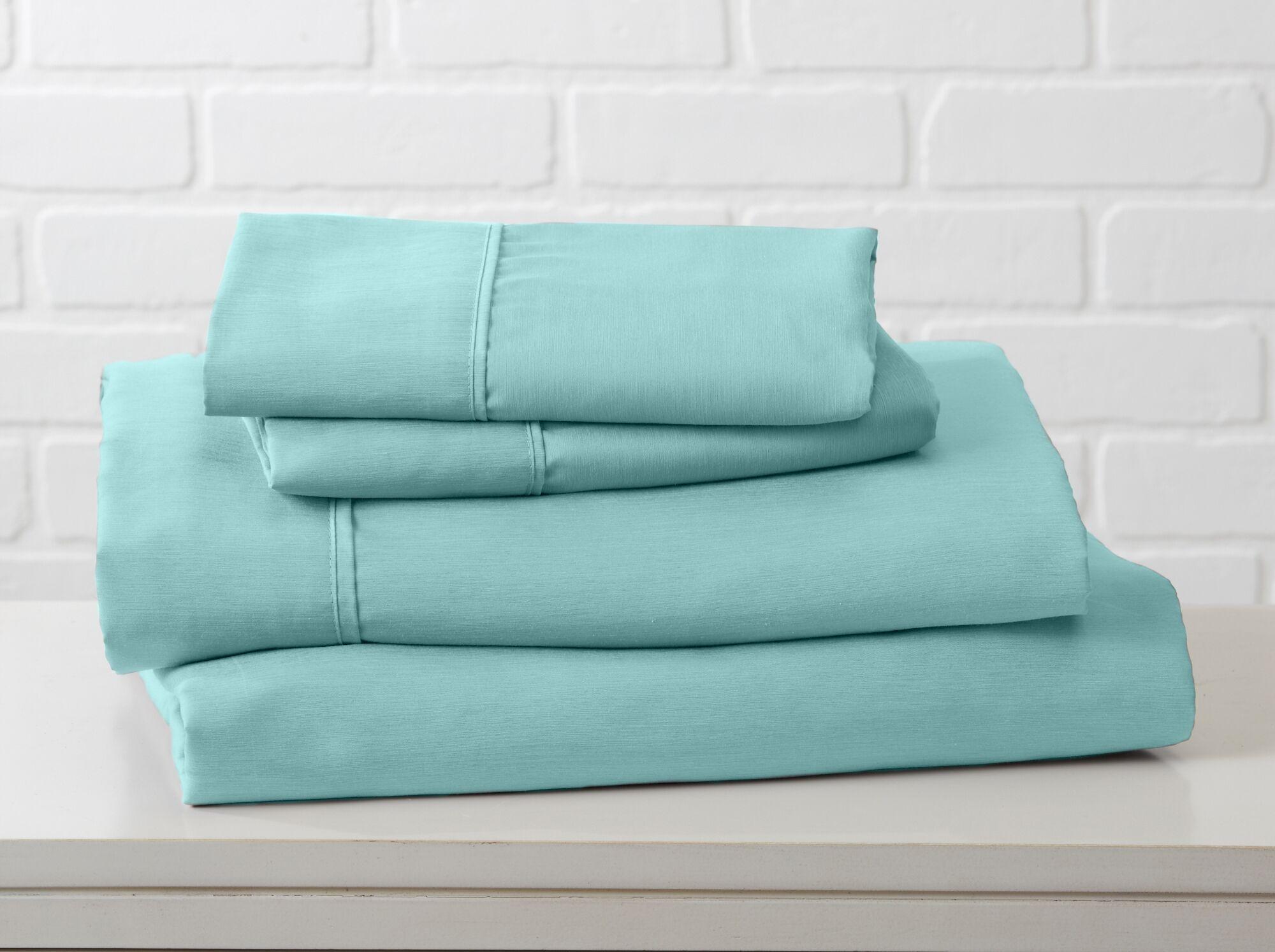 Hartland Sheet Set Color: Pastel Turquoise, Size: King