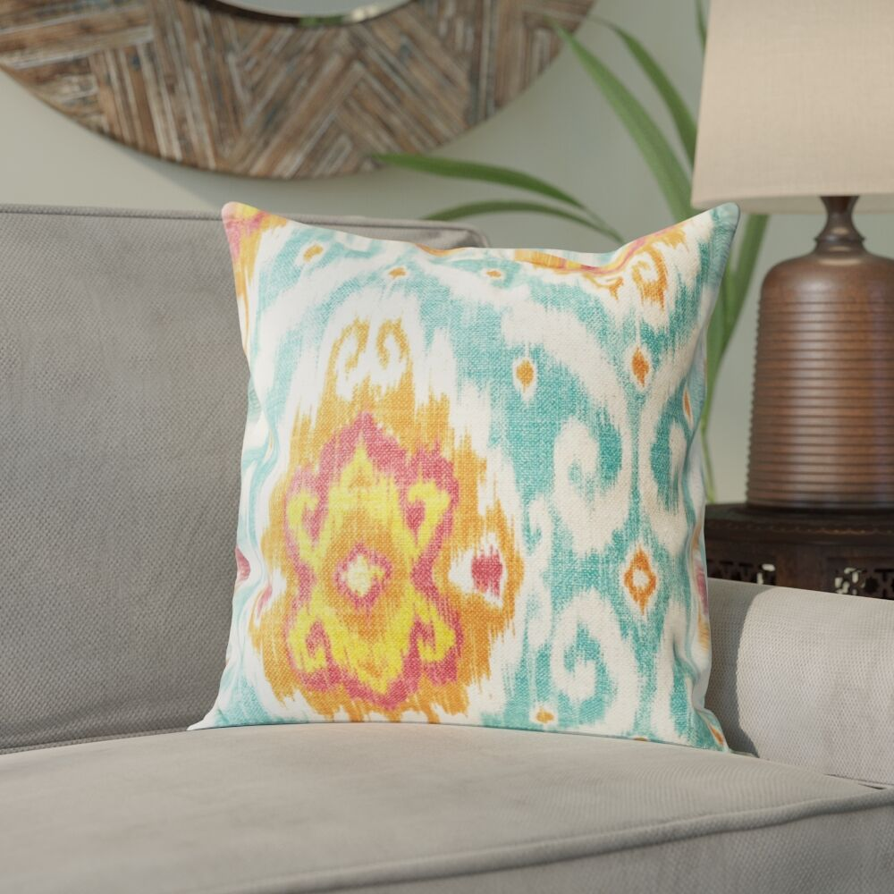 Bettembourg Ikat Cotton Throw Cushion Color: Flame, Size: 20