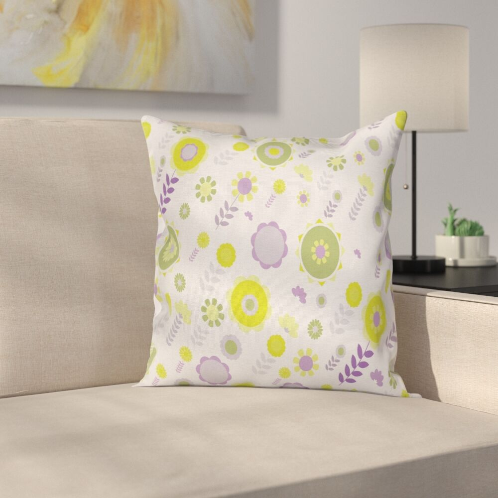 Funky Flowers Pattern Cushion Pillow Cover Size: 24