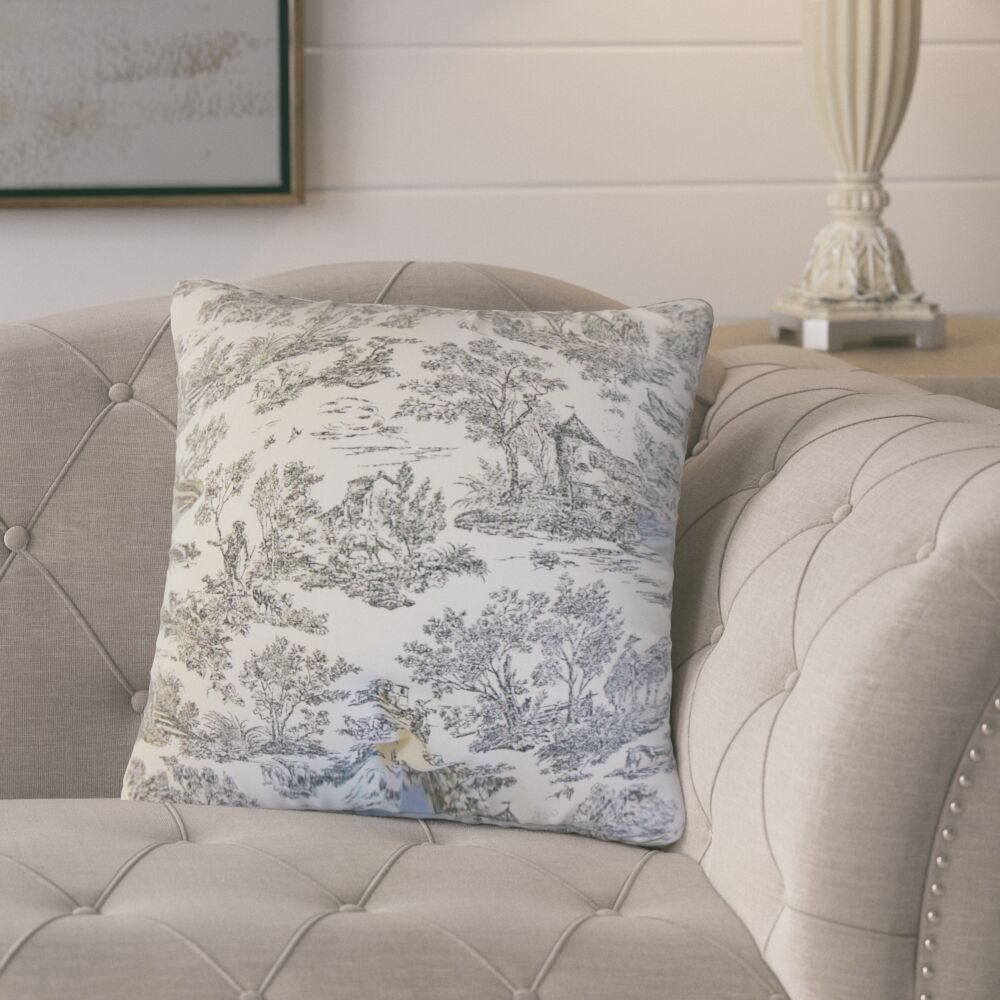 Santino Toile Cotton Throw Pillow Color: Charcoal