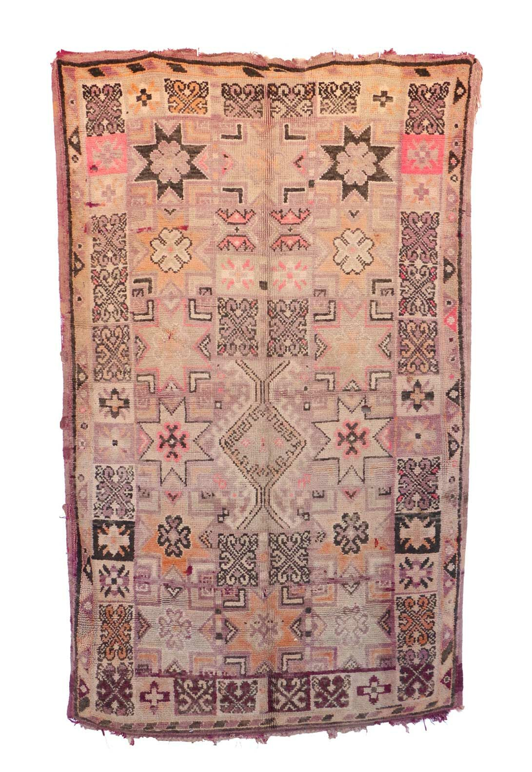 One-of-a-Kind Boujad Moroccan Hand-Knotted Wool Beige/Pink Area Rug