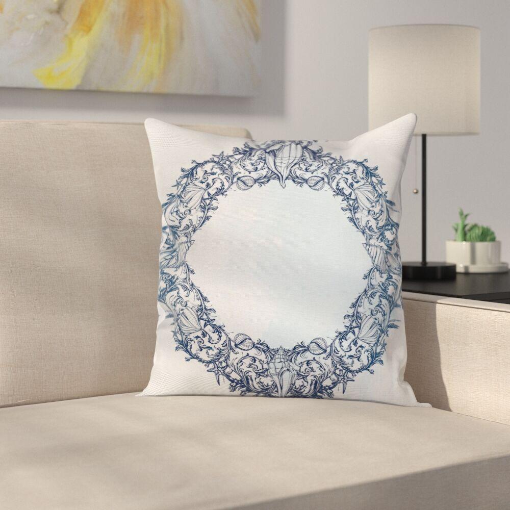 Vintage Floral Circle Zen Square Pillow Cover Size: 16