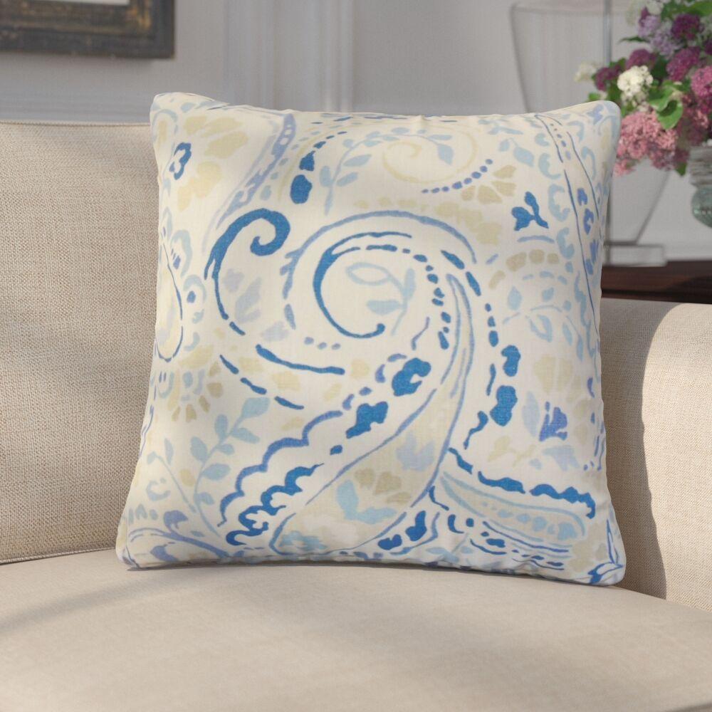 Marea Floral Linen Throw Pillow Color: Blue