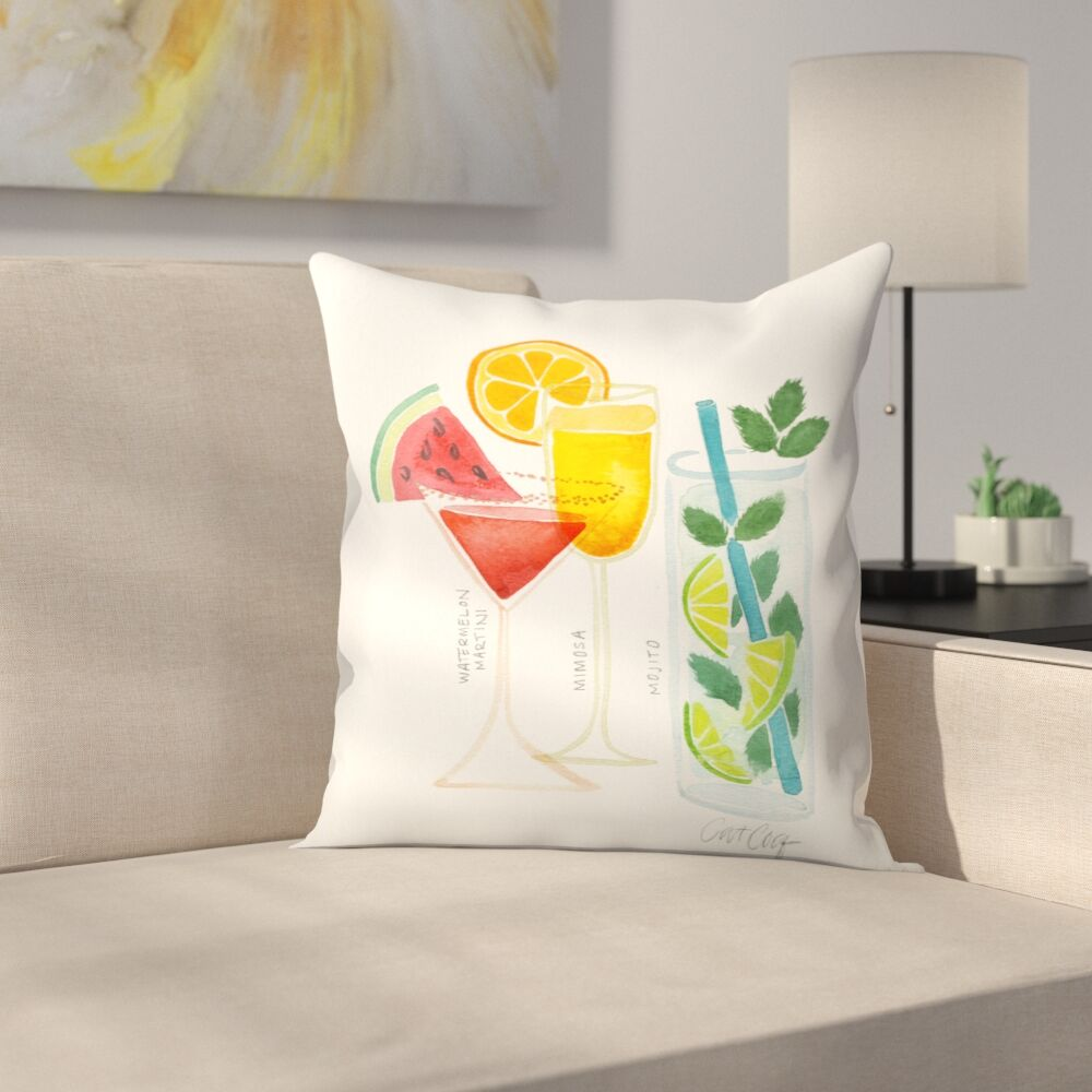Summer Cocktails Throw Pillow Size: 14