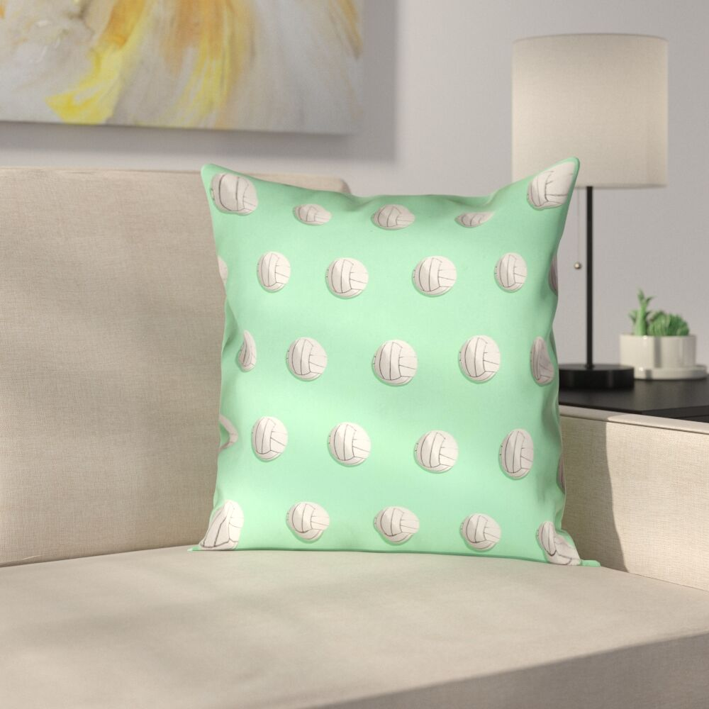 Volleyball Suede Pillow Cover Size: 18
