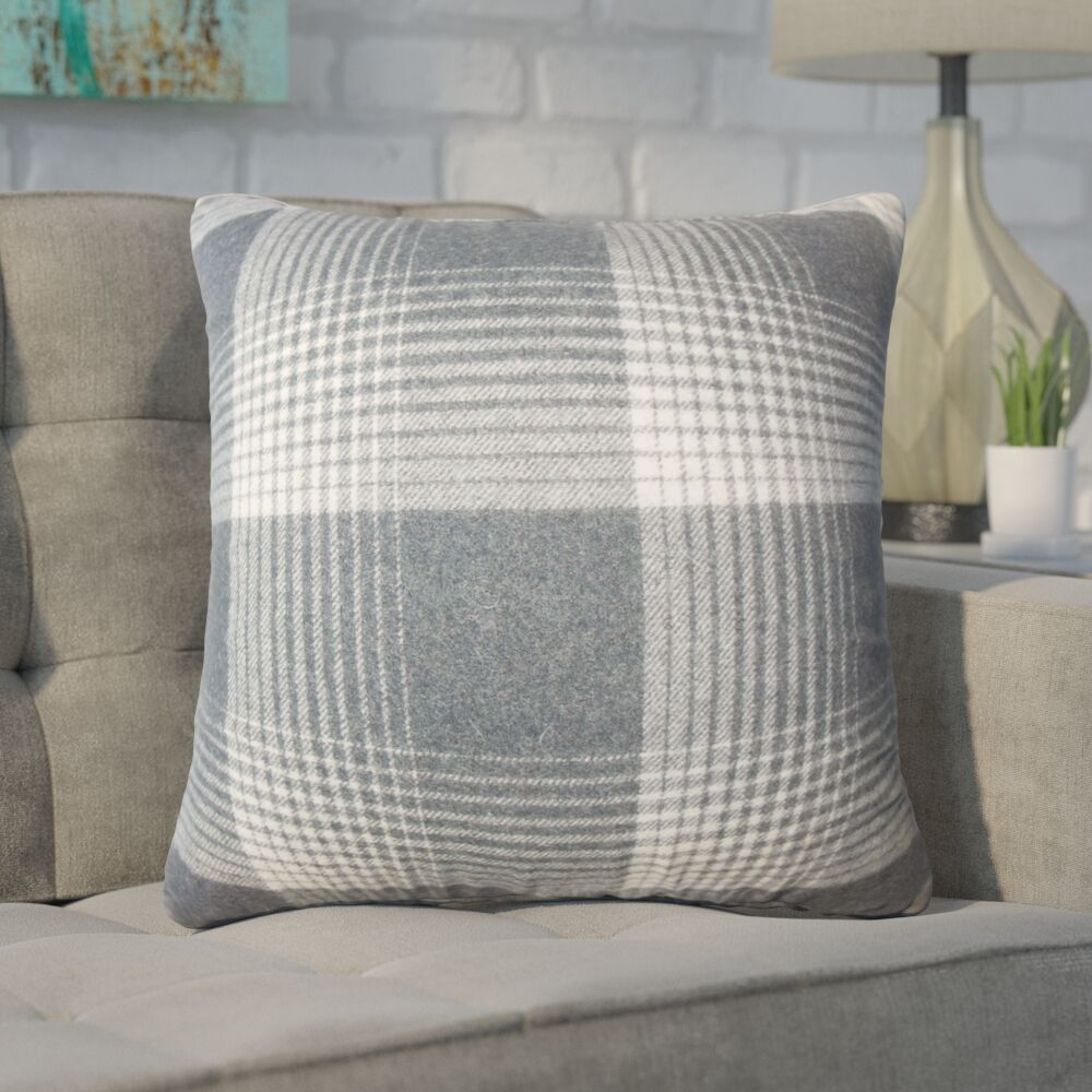Wigginton Plaid Down Filled Velvet Throw Pillow Size: 24