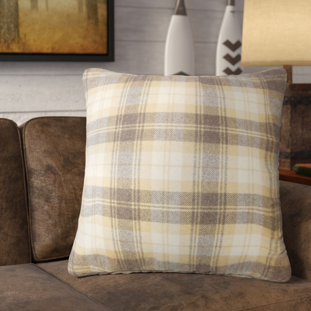 Althoff Plaid Down Filled Velvet Throw Pillow Size: 24