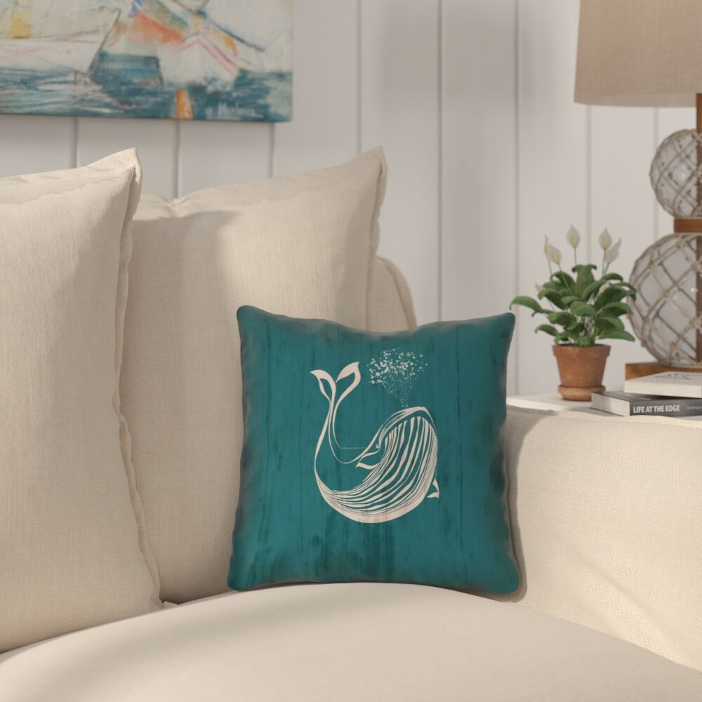 Lauryn Rustic Whale 100% Cotton Throw Pillow Size: 14