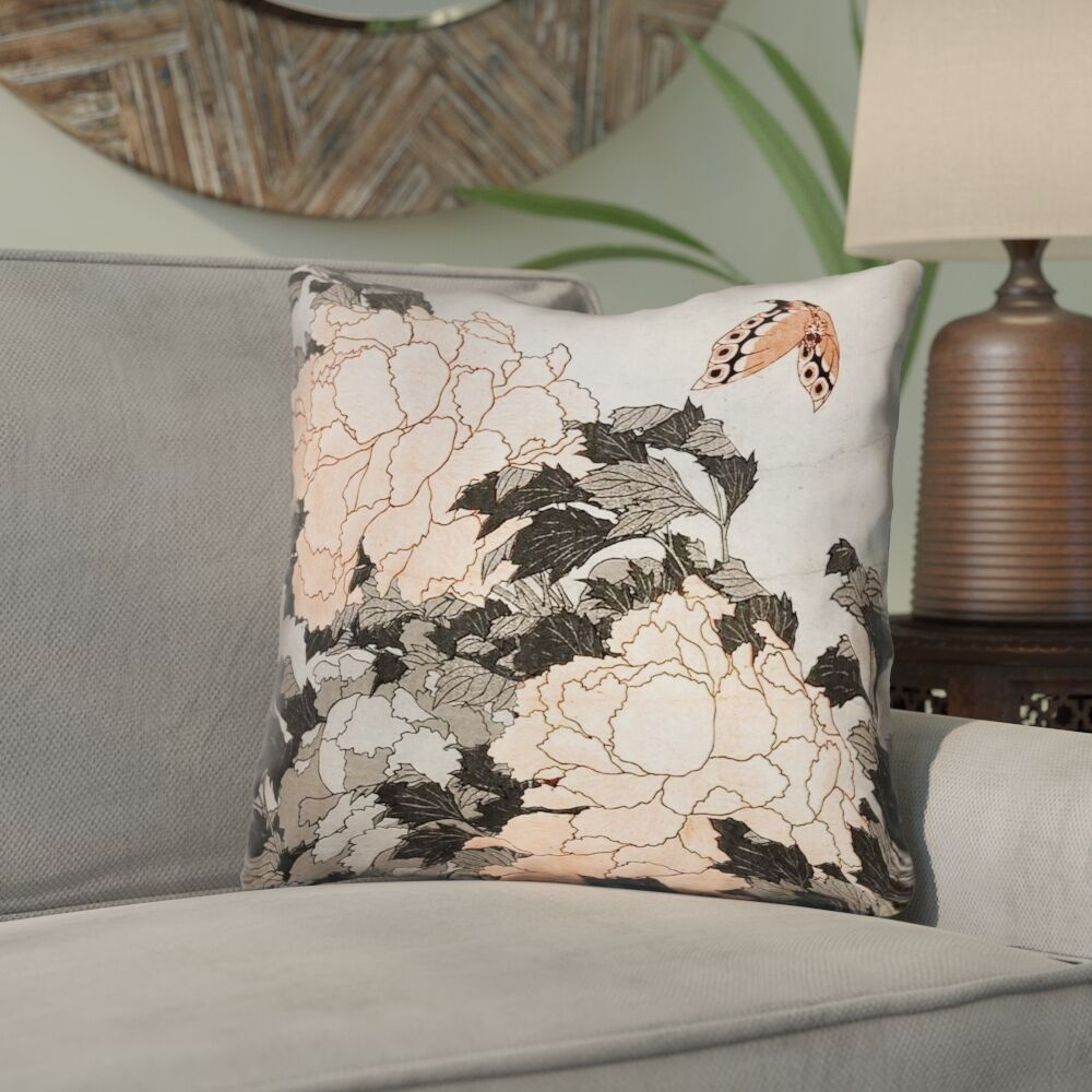 Clair Peonies with Butterfly Linen Throw Pillow Size: 16
