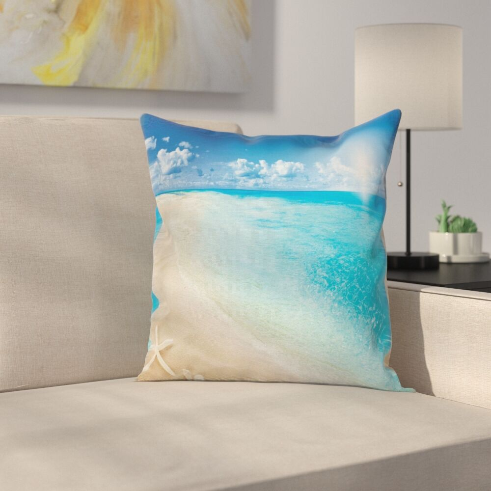 Beach Sunny Seashore and Shells Square Pillow Cover Size: 16
