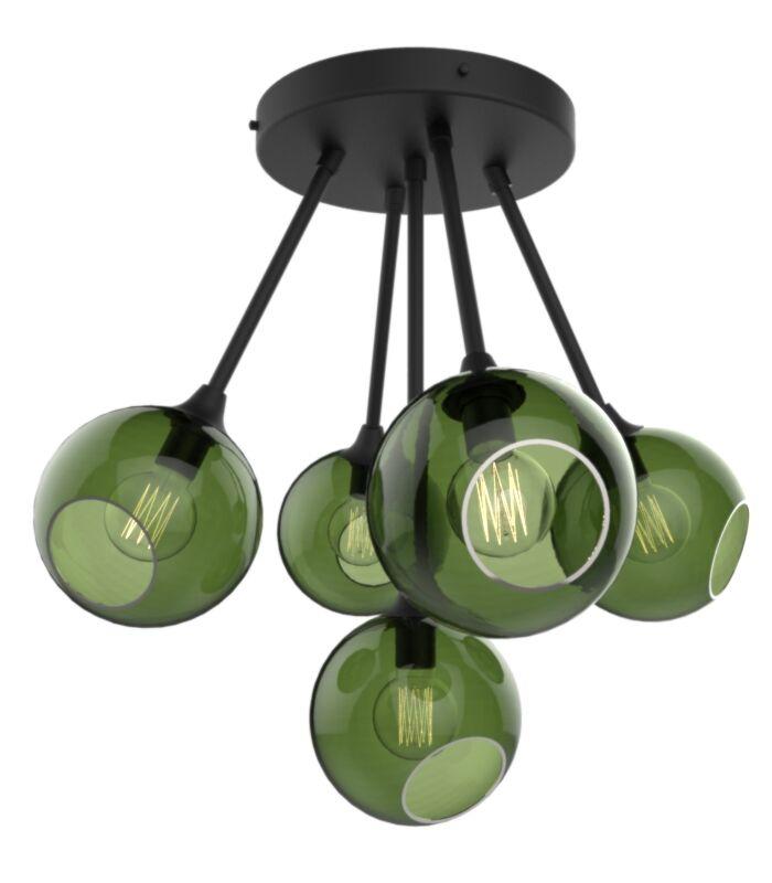 The Ballroom Molecule 8-Light Cluster Pendant Shade Color: Army Green, Finish: Black