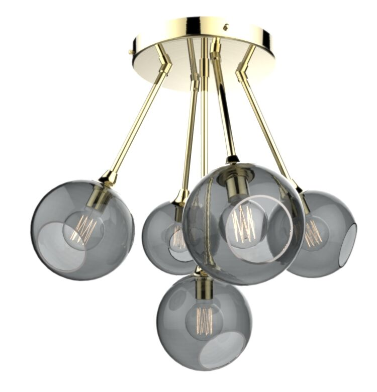 The Ballroom Molecule 8-Light Cluster Pendant Shade Color: Smoke, Finish: Gold