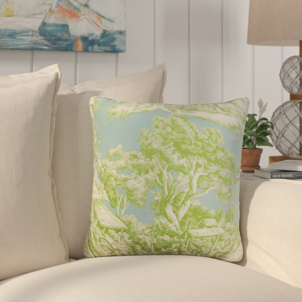 Nataliya Toile Cotton Throw Pillow Color: Green