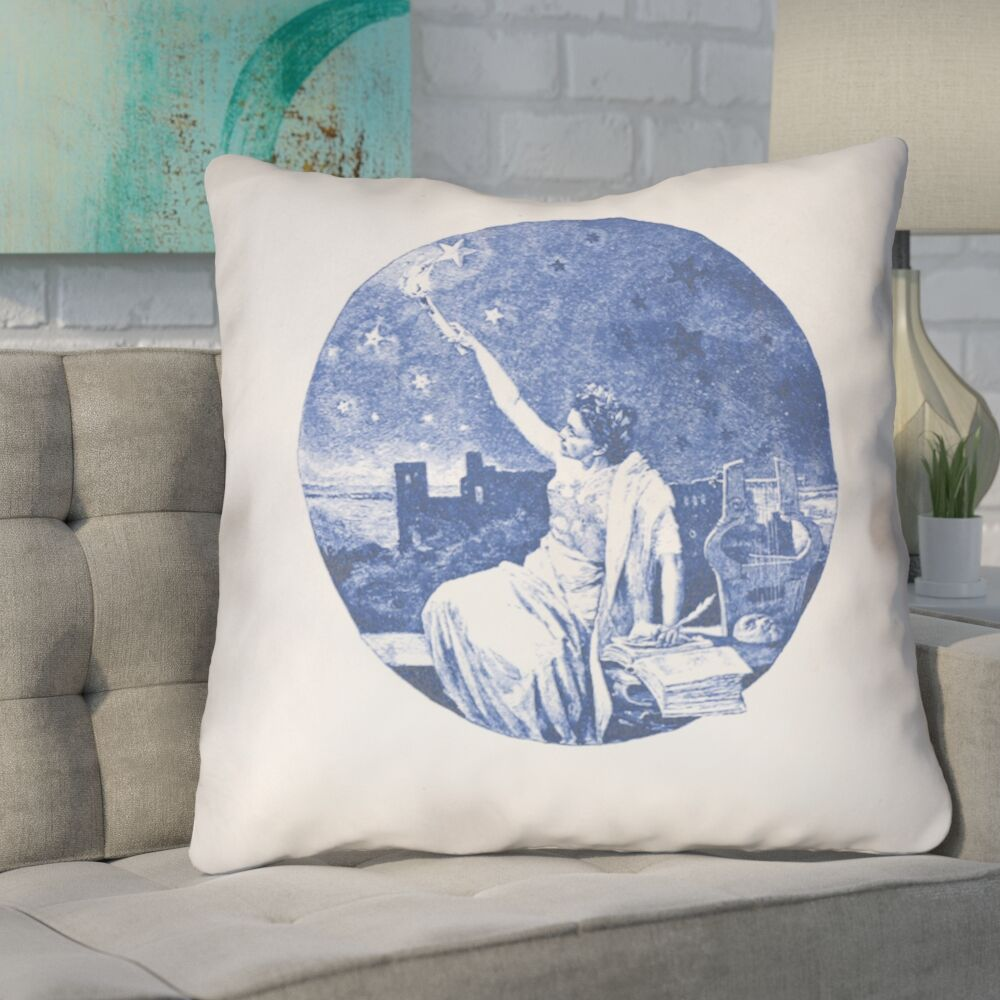 Enciso Blue Vintage Goddess Throw Pillow Color: Blue, Size: 26