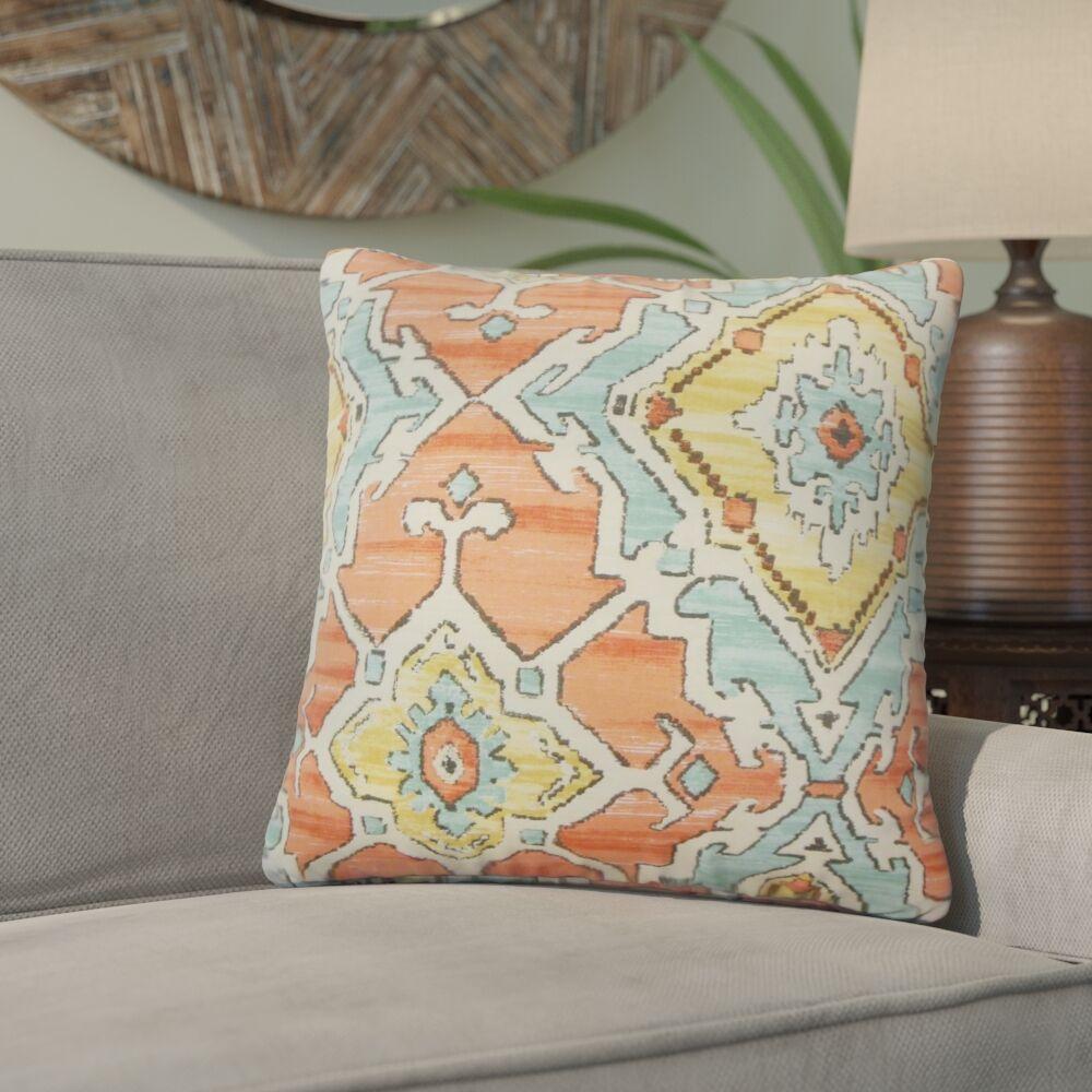 Ashly Ikat Cotton Throw Pillow Color: Papaya