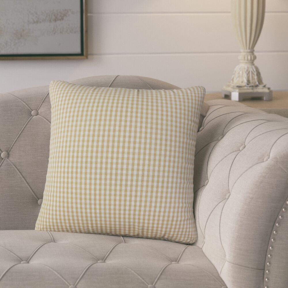 Bergmann Plaid Cotton Throw Pillow Color: Honey