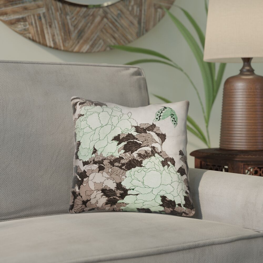 Clair Peonies with Butterfly Indoor Throw Pillow Size: 16