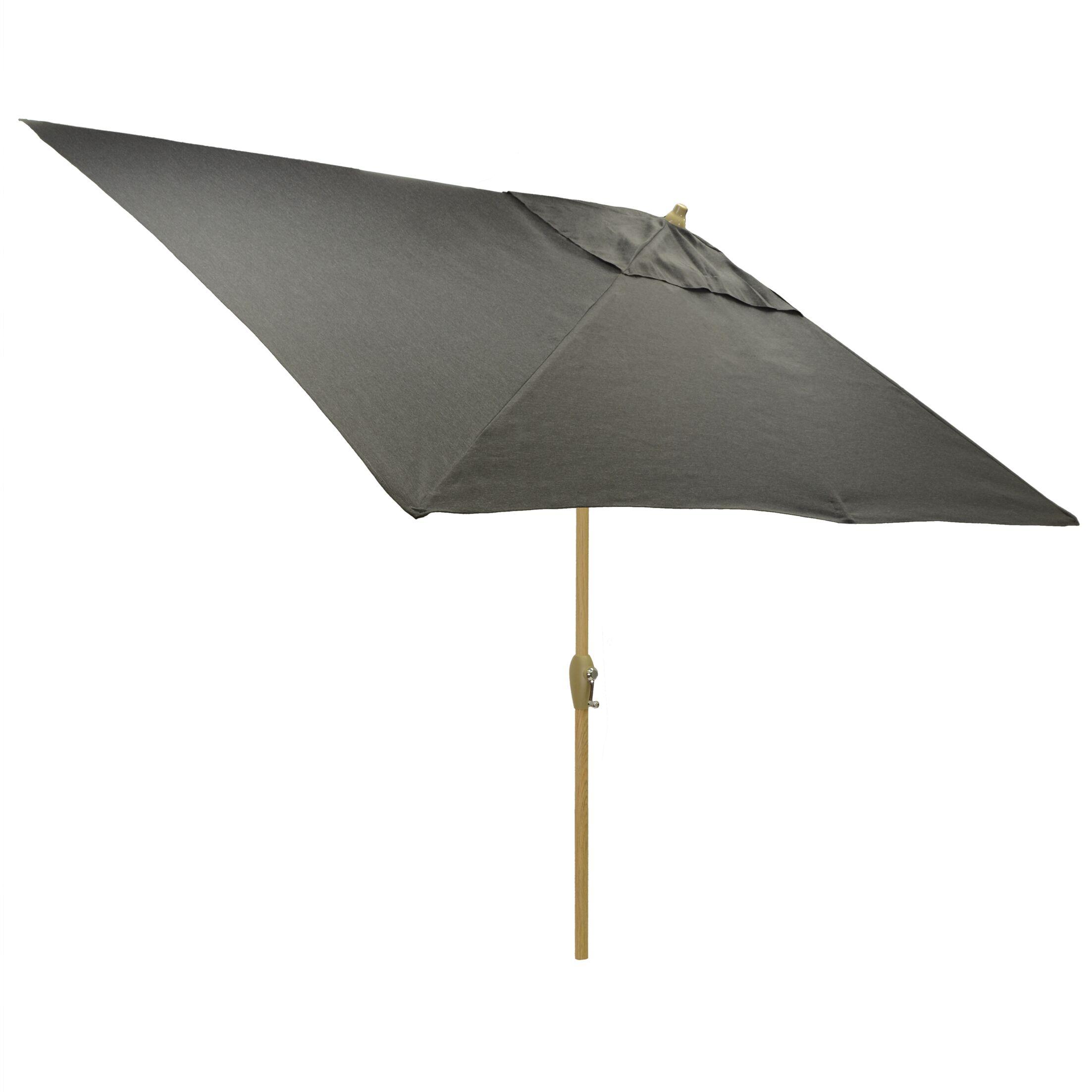 Hulme Solid 6.5' x 10' Rectangular Market Umbrella Fabric Color: Charcoal