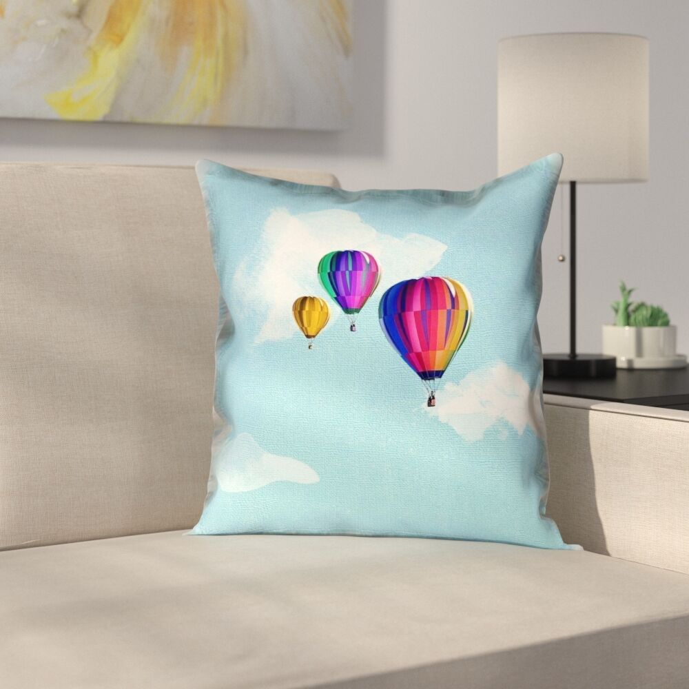 Hot Air Balloons Suede Pillow Cover Size: 18
