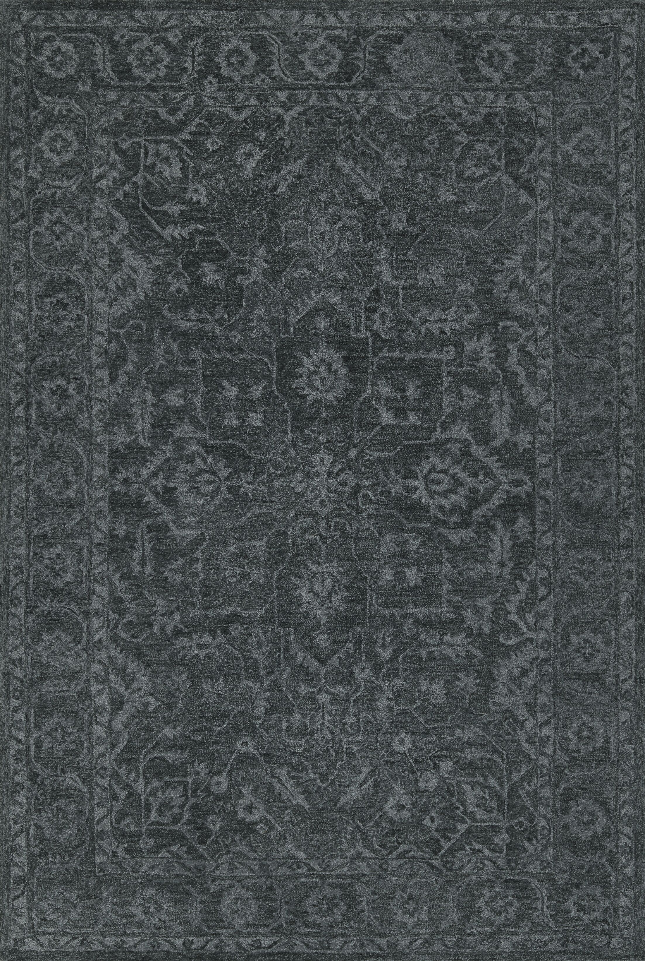 Chatmon Hand-Tufted Wool Midnight Area Rug Rug Size: Rectangle 3'6