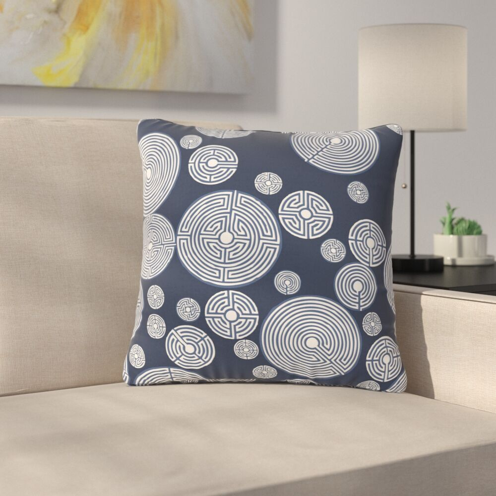 Laura Nicholson Indigo Labyrinths Outdoor Throw Pillow Size: 18