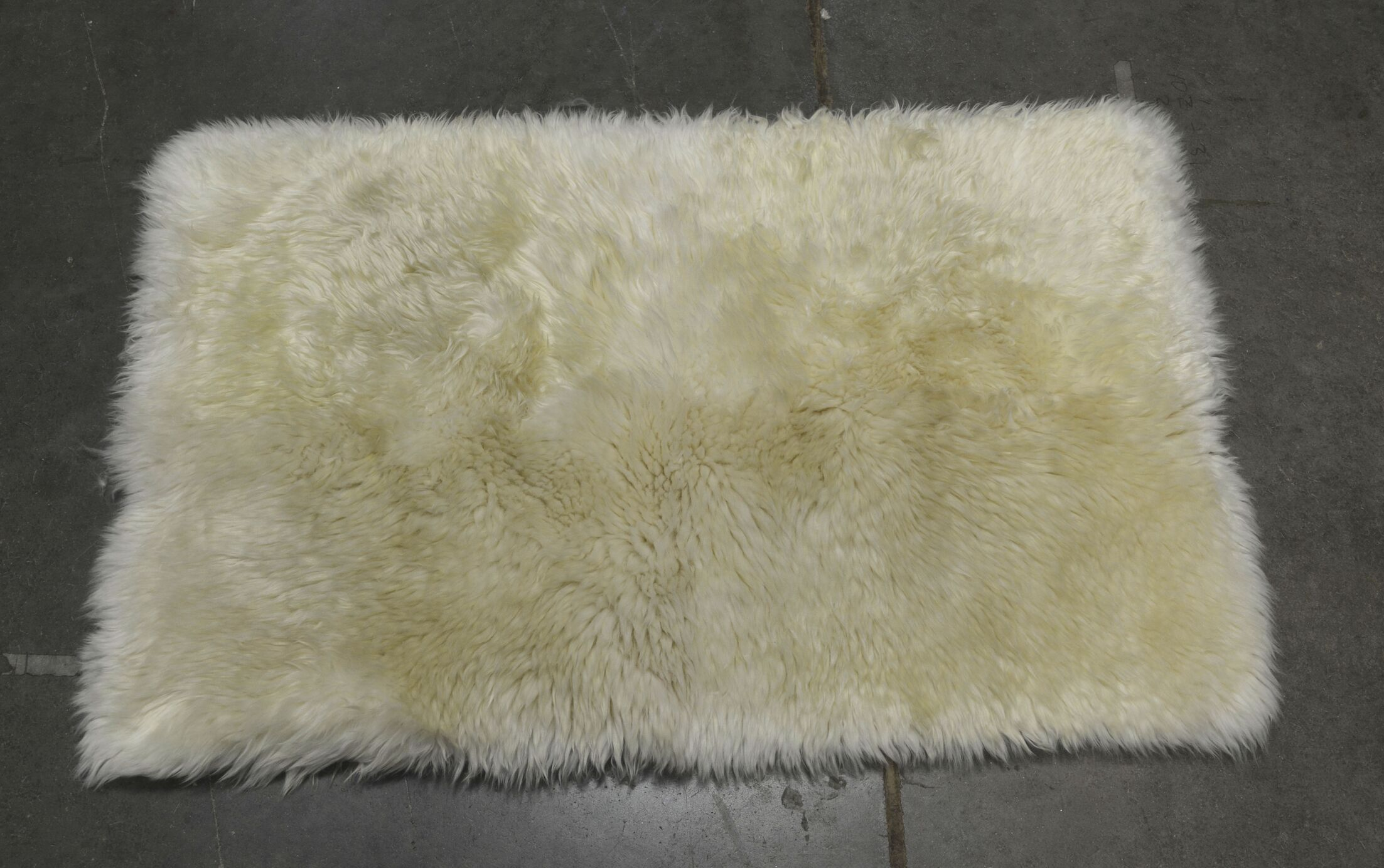 One-of-a-Kind Heiss Hand-Woven Sheepskin White Area Rug Rug Size: Rectangle 1.8' x 3'